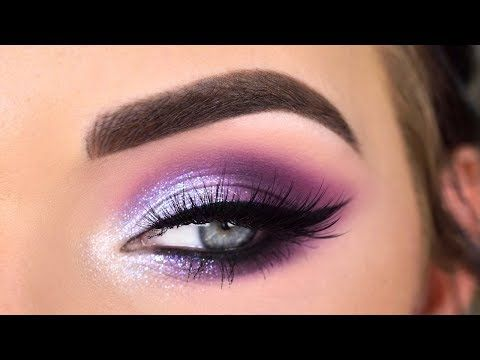 Huda Beauty Mercury Retrograde Palette   Purple Glitter Eye Makeup Tutorial