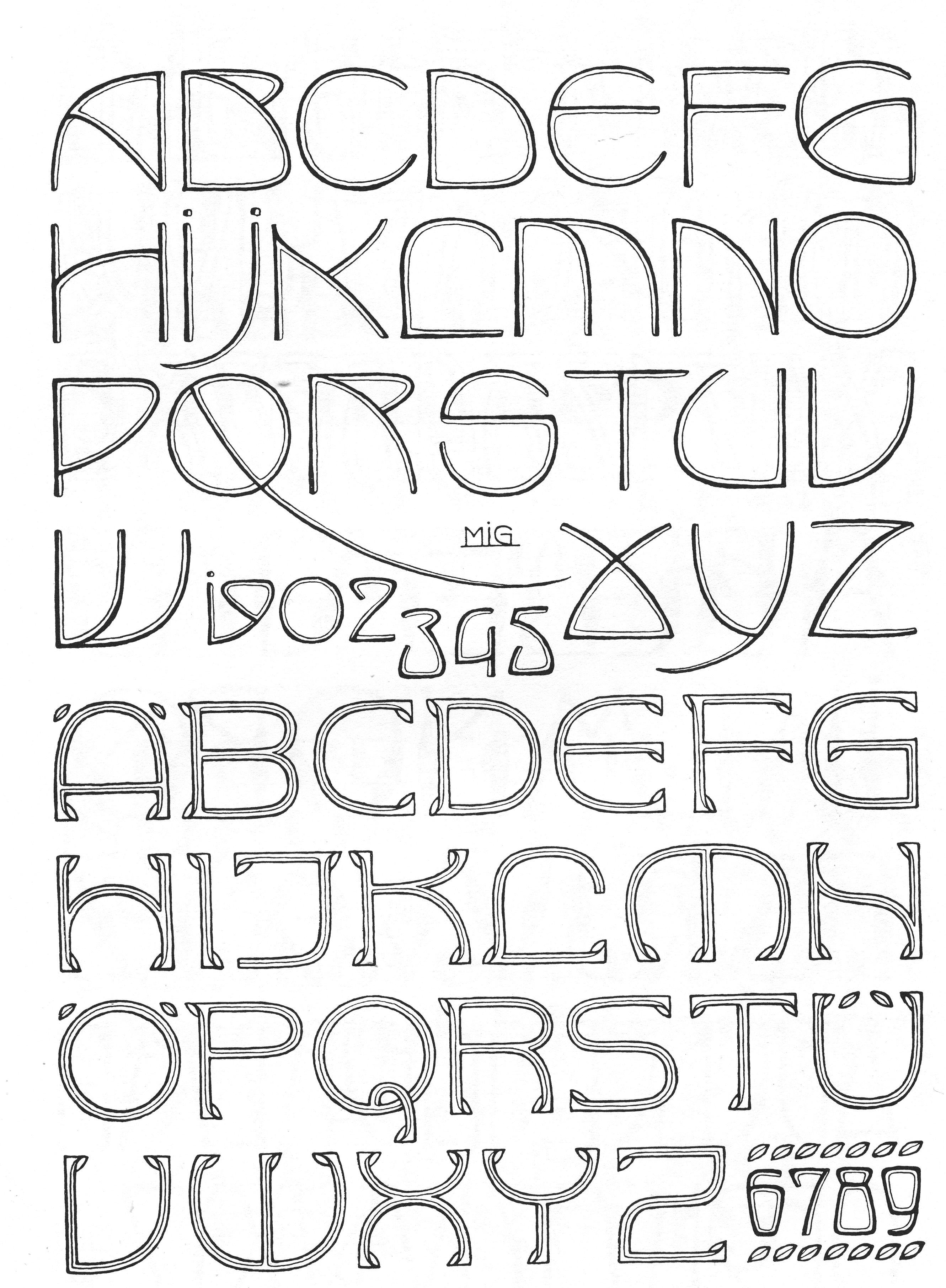 Art Nouveau Full Alphabet