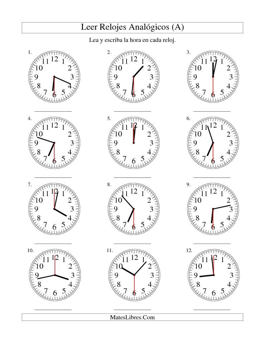 Worksheets La Hora Worksheet leer la hora en un reloj intervalos de 30 segundos a a