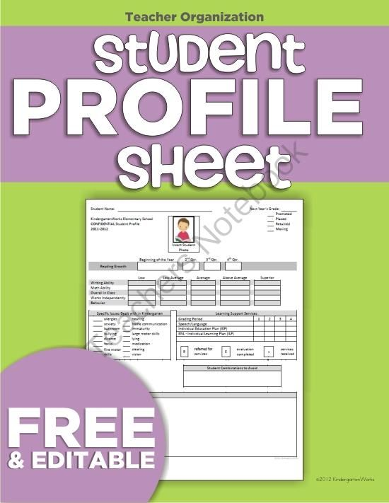 Student Profile Sheet - Free (use when registering next yearu0027s - profile templates