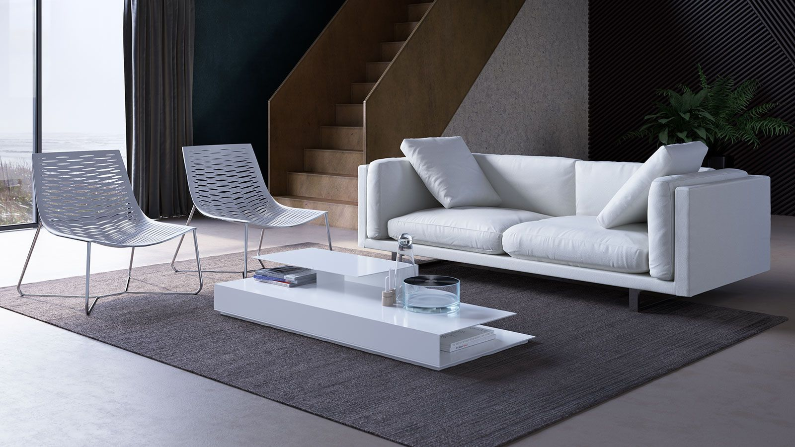 With a hidden support at the center of the long rectangular Acton Coffee Table, this table seems to float despite its full base, two tiers, and abundant storage space. Finished in either high-gloss lacquer or combination natural wood veneers and metallic painted finishes, the Acton features mitre-folded construction to hide joints and perfectly finished edges. Its clean geometry recalls the Asian design influences of mid-century Italian furniture.