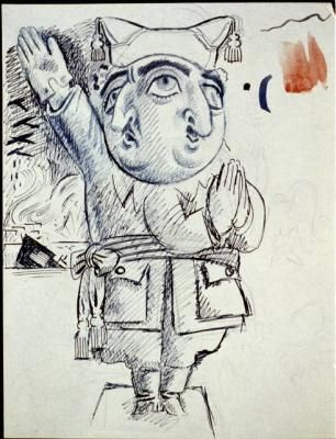 Miguel Covarrubias Caricatures - Francisco Franco with two faces, 1937