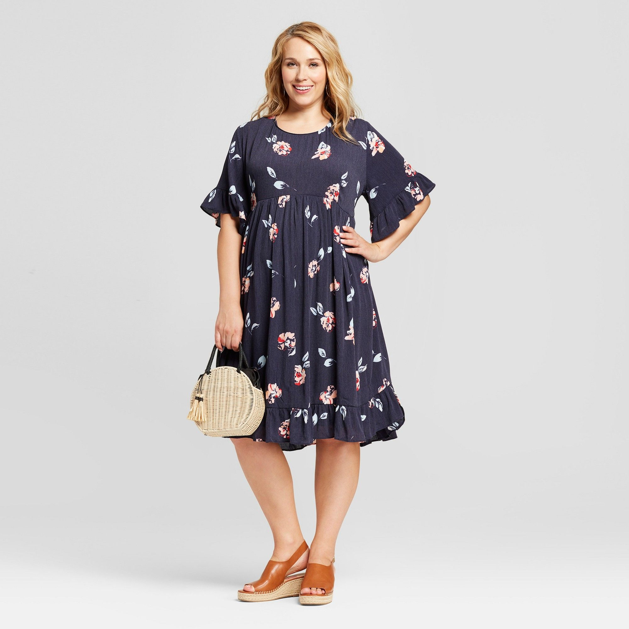 433623204c12 Maternity Plus Size Floral Ruffle Sleeve Woven Dress - Isabel Maternity by  Ingrid & Isabel Navy 2X, Women's, Blue