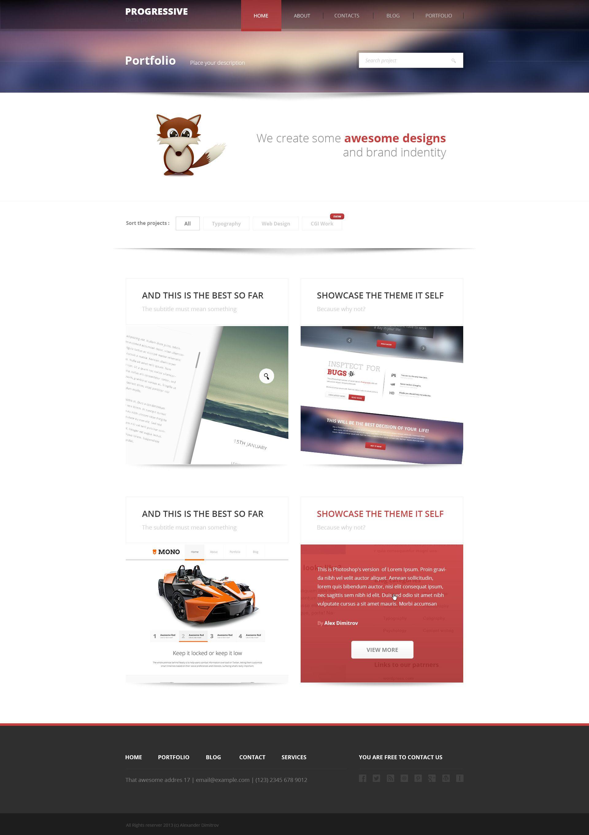 Progressive - Modern Portfolio PSD Template #design #webdesign ...