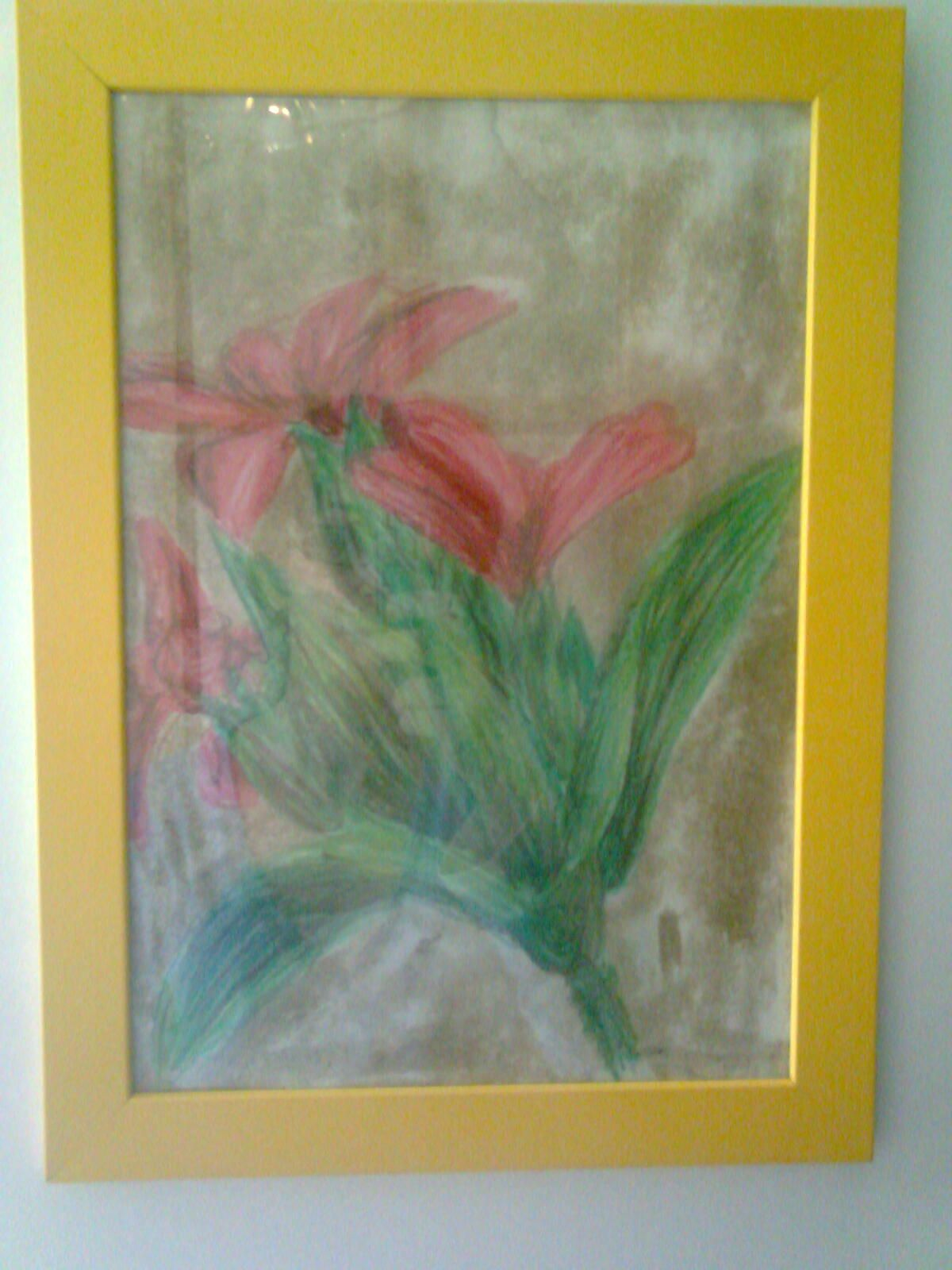 Flowers (materials: chalk pastels, sand / size: A4)