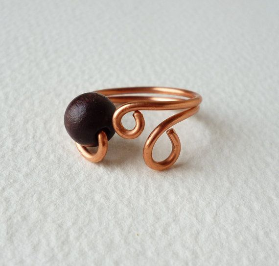 Copper Wire Ring with one dark brown wooden by SimplyWireWrapped | B ...