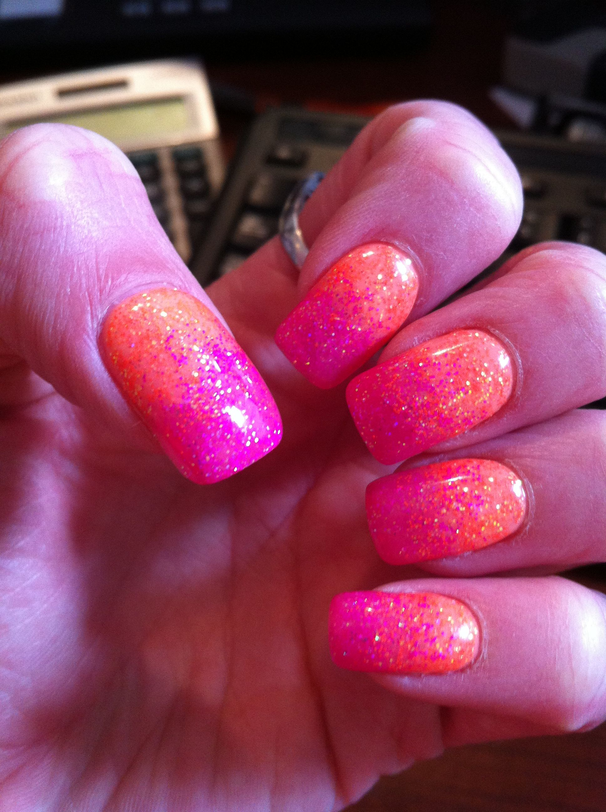 Gel nail art -hot pink and orange fade with INT Beverly hills and ...