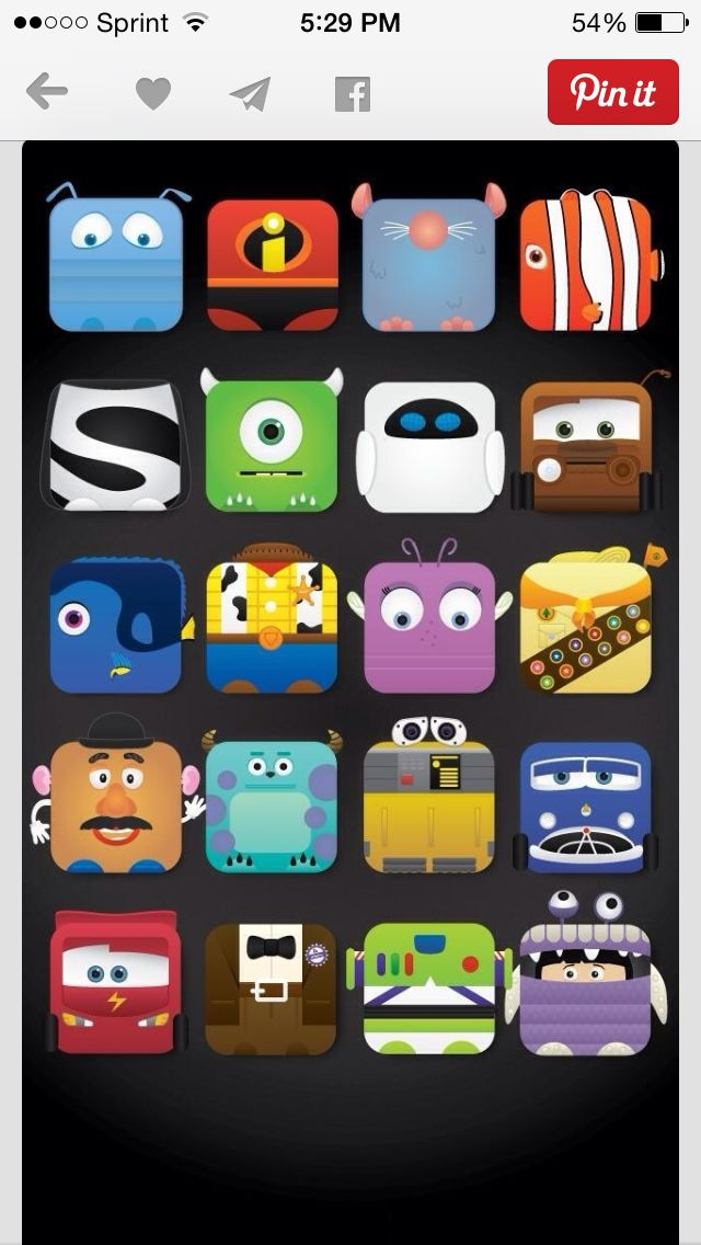 Cute wallpaper to put your apps on Pixar characters.