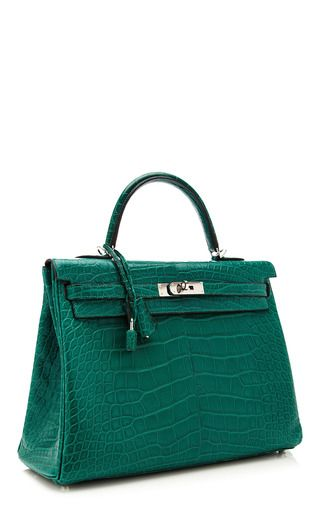 8a442be6a20b 35 Cm Hermes Malachite Matte Alligator Retourne Kelly by HERITAGE AUCTIONS  SPECIAL COLLECTION for Preorder on Moda Operandi