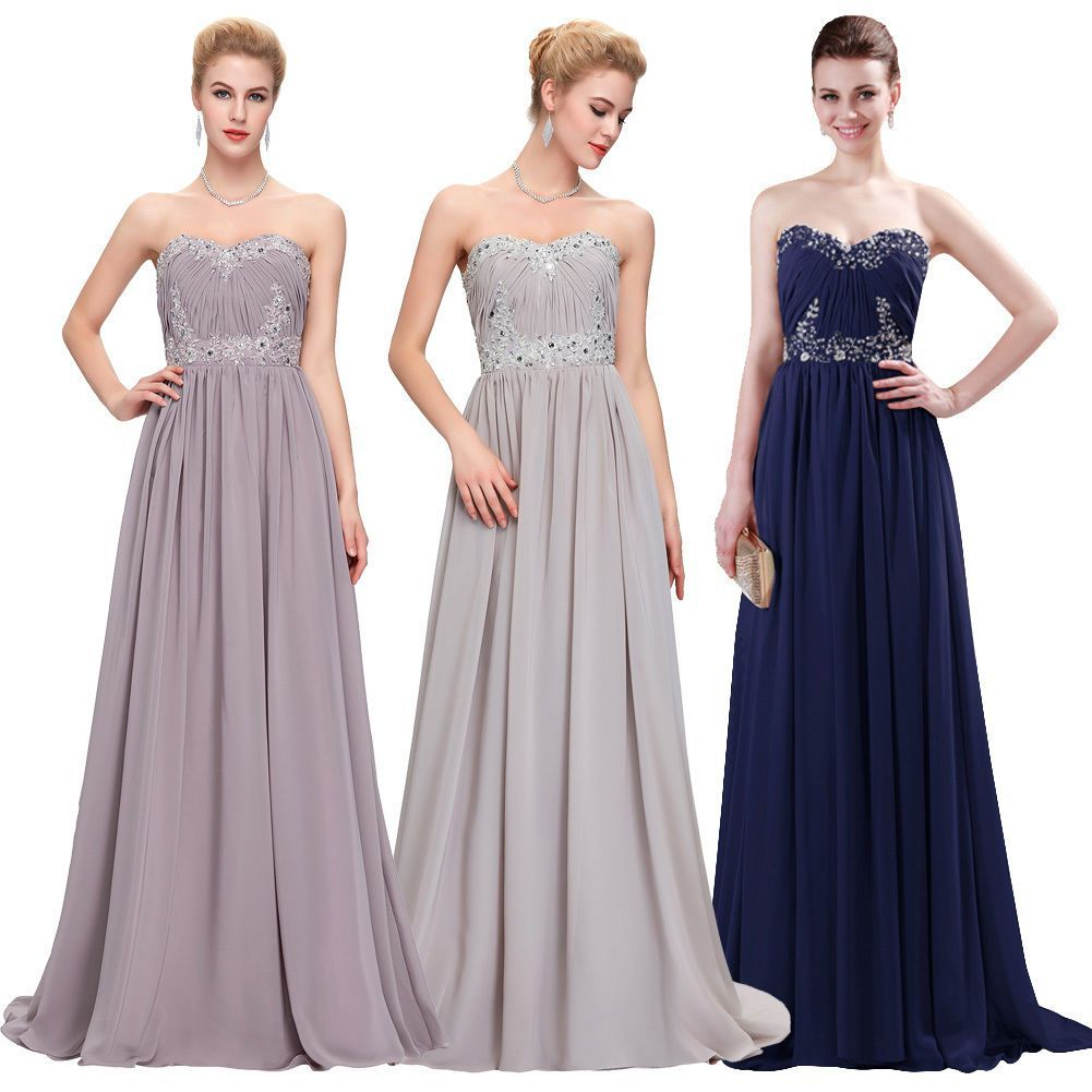 new long prom dress chiffon bridal formal ball party gown