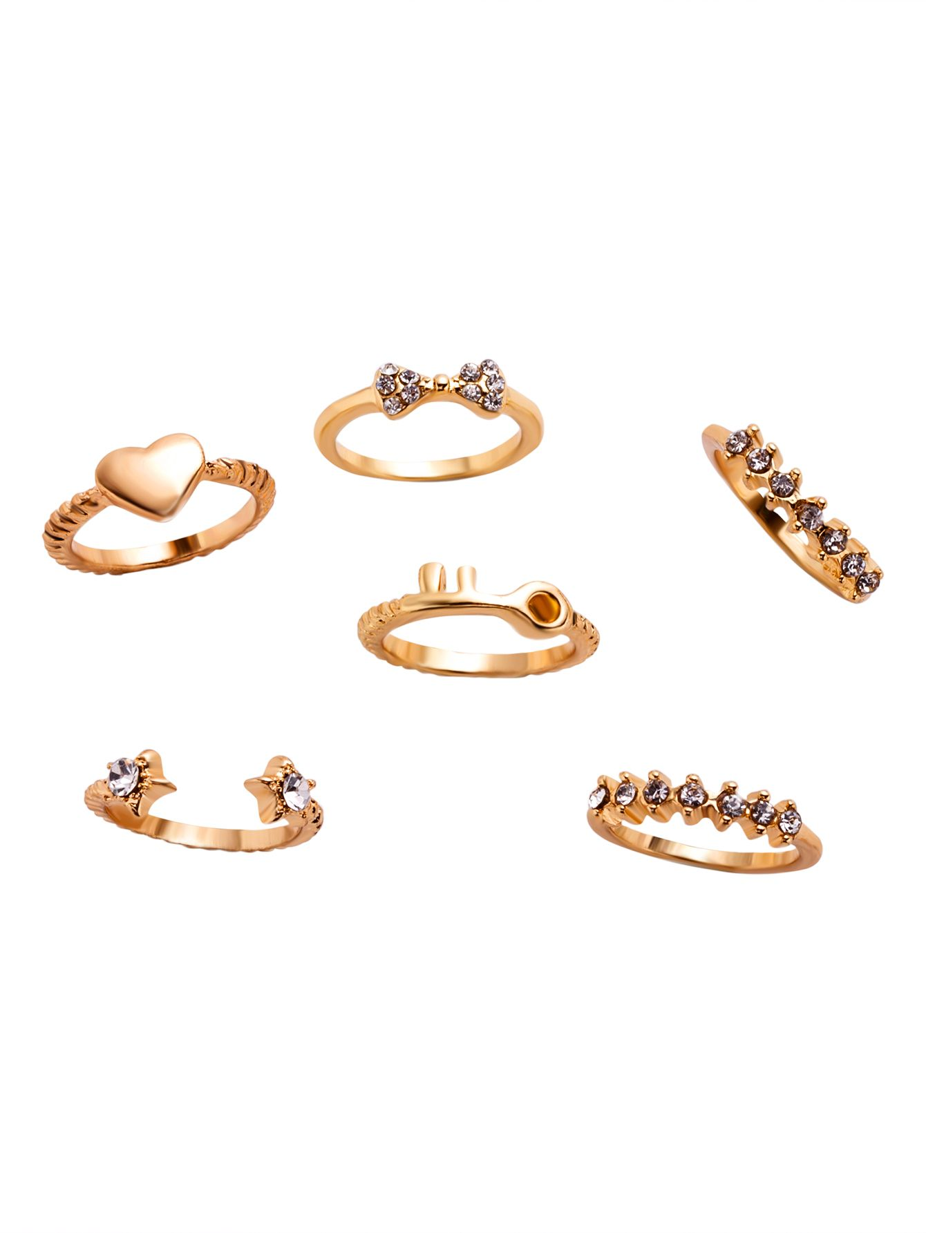 6PCS Gold Plated Rhinestone Multi Shape Ring Set — 0.00 € -------color: Gold size: None