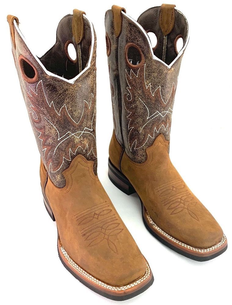 Mens Cowboy Boots Western Dress Bull Design Genuine Leather Square Toe Botas