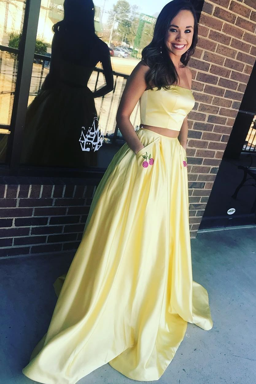 Discount fancy prom dresses long strapless two piece yellow long