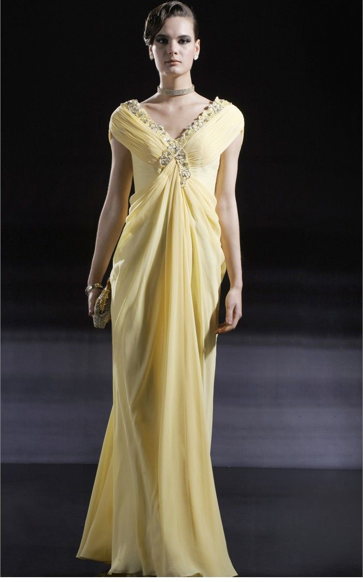 Yellow chiffon aline vneck capsleeves with beads and pleats long