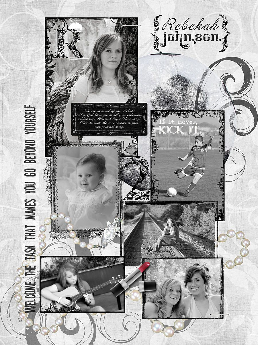 Scrapbook ideas graduation - Black And White Layouts For Yearbook Senior Yearbook Page 2010 Senior Photographers