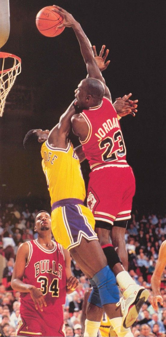 Michael Jordan Dunking Over Orlando Woolridge Of The Los Angeles Lakersi Mean Did He Really Have To Lick His Arm Too