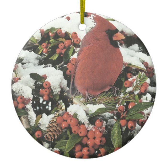 Happy Holidays Cardinal Christmas Ornament