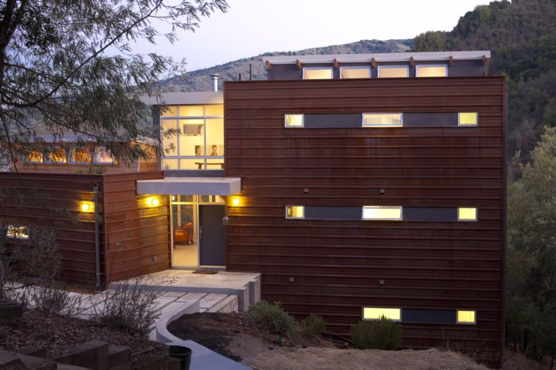 Corten R Panel Horizontal With Cement Fiber Board Exterior Wall Cladding Exterior Cladding Roofing