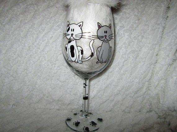 #cat#painted#glassware