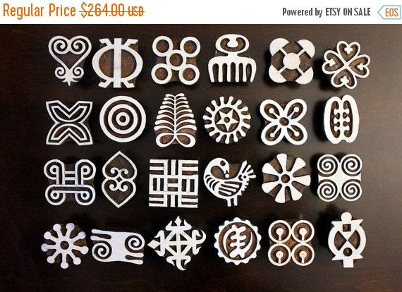 bigannualsale set of 24 adinkra symbol stamps by charancreations