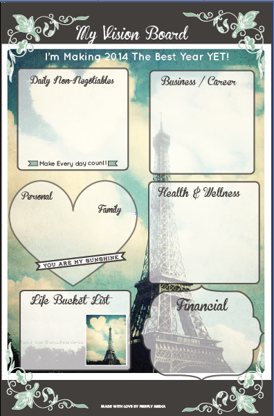 Paris visionboard and goalsetting map get it now at for Vision board templates free