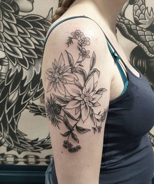 Tatouage Par Fleur Intestinale Sophie Hedon Edelweiss Chardon Et