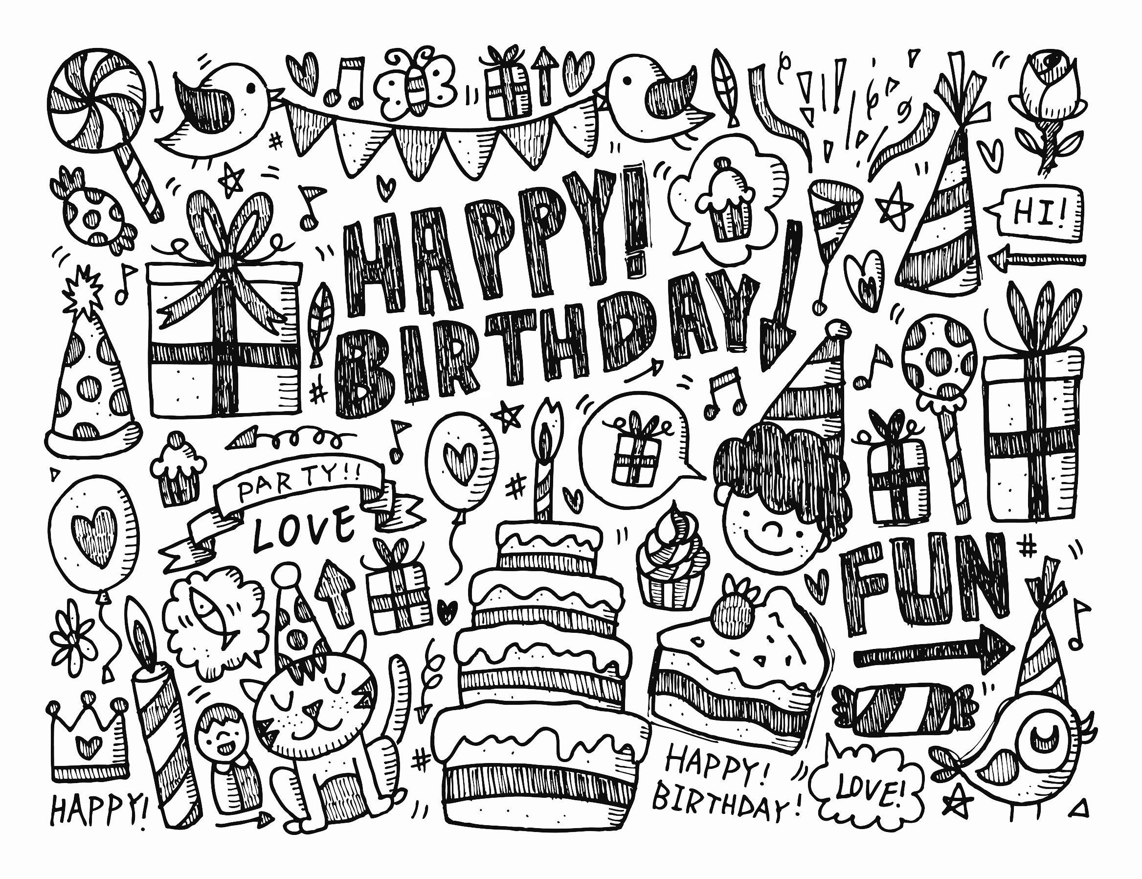Free Doodle Coloring page Happy Birthday by notkoo2008 #doodle #doodling #doodle-art #happyhalloweenschriftzug