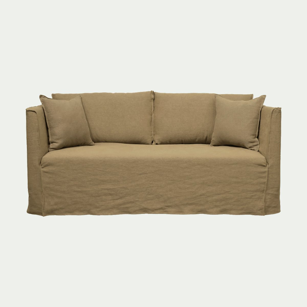 Canape 3 Places Fixe En Lin Vert Cedre Alinea Outdoor Sofa
