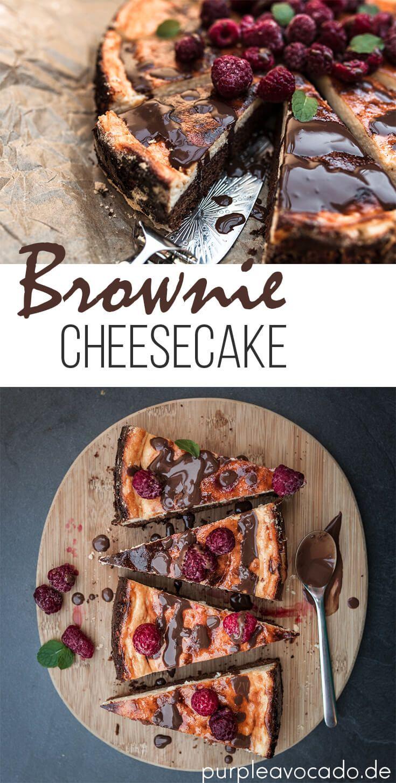 Saftiger Brownie Käsekuchen mit Schoko-Beeren-Topping   Purple Avocado #cakesandcheesecakes