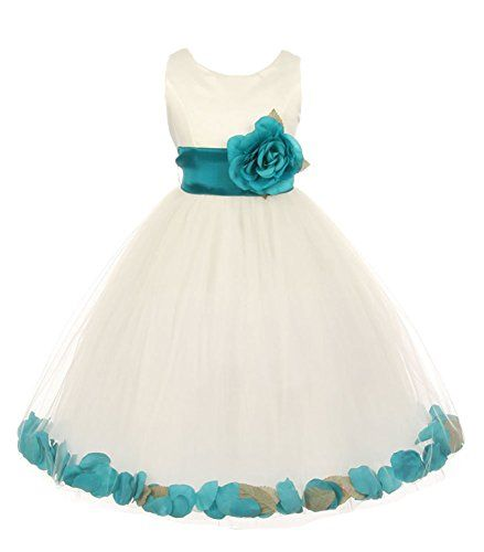 9e7fd80cd699 Cinderella Couture Little Girls Ivory Tulle Petal Flower Girl Pageant Dress  Teal 4 * Click on the image for additional details.