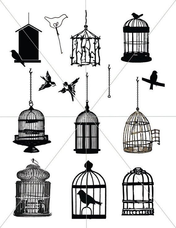 Birdcage Images Bird Cage Vectors Printable Bird Clipart Etsy Birdcage Tattoo Cage Tattoos Bird Clipart