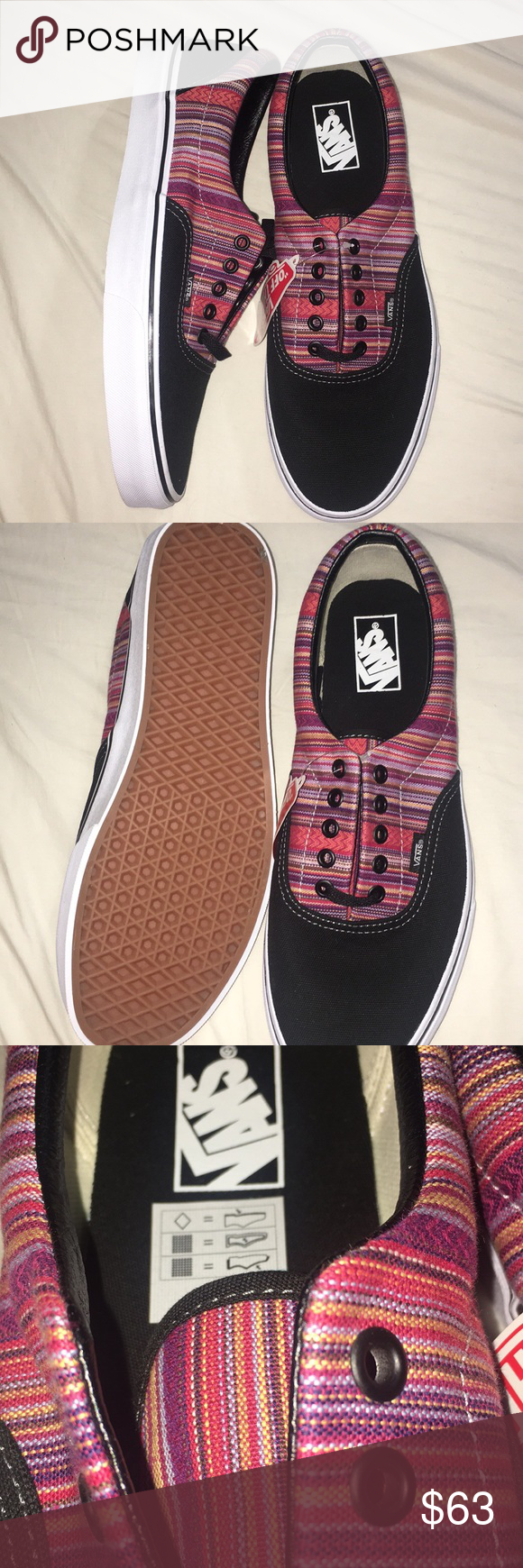 9557d5dc11 Era Vans Authentic era Vans in guate weave black multi colored. Black  canvas with multi colored stripes. Red orange pink purple blue yellow green  brown ...