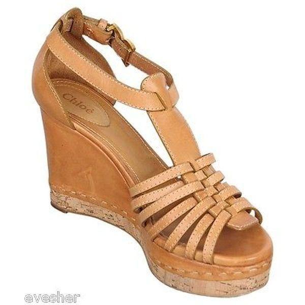 7daafe93f16 Pre-Owned Chloe Wedge Sandal Leather T-Strap Platform Shoe Heel  850 s2012  Sz