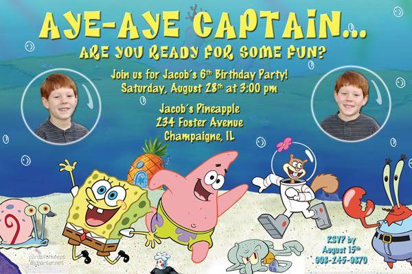 Spongebob Birthday Invitations Walmart