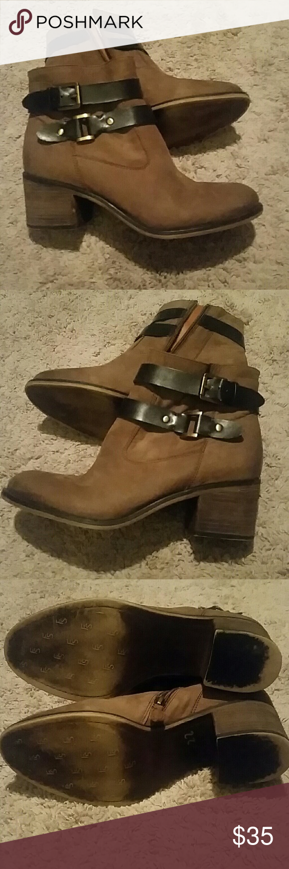Franco Sarto booties Used Franco Sarto brown ankle boots size 9M, buckle is gold tone, Franco Sarto Shoes Ankle Boots & Booties