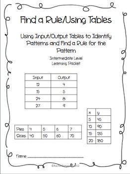 Find A Rule Input Output Tables Learning Packet 6th Grade