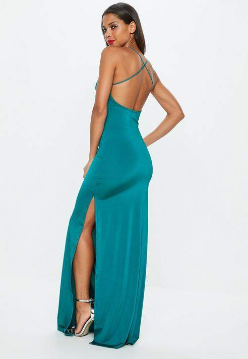 7ba37b6d03 Missguided Teal Slinky Maxi Dress | Products in 2019 | Dresses, Prom ...