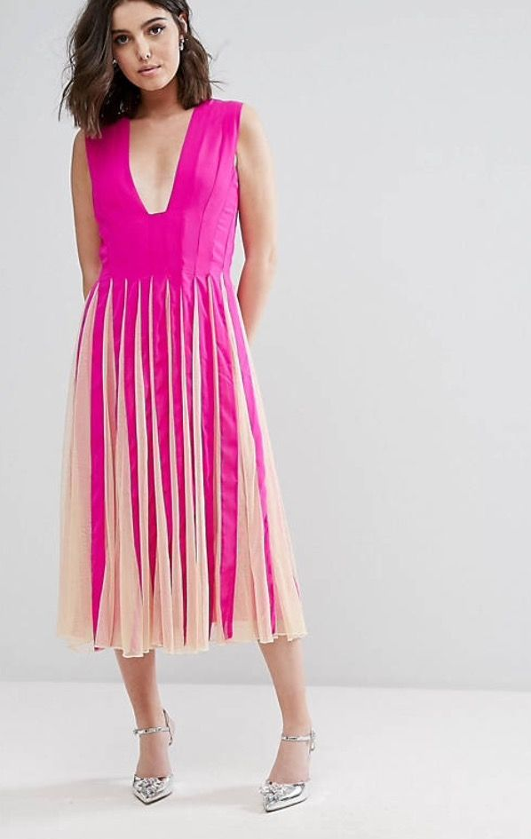 Asos Petite Mesh Fit and Flare Square Plunge Midi Dress - Hot Pink ...