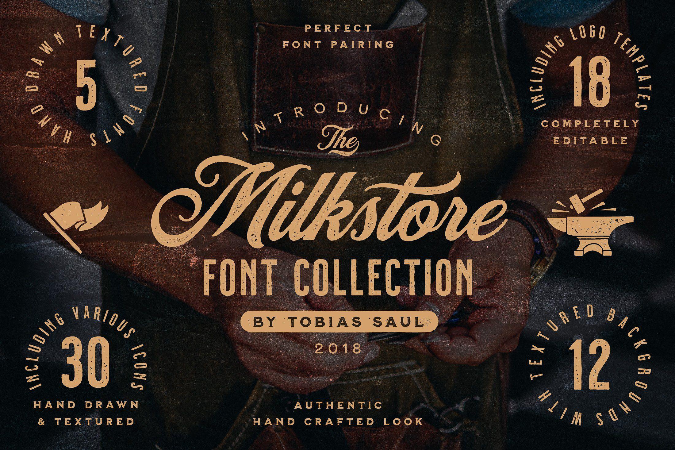 Milkstore Font Collection Vintage Fonts Handcraft Fonts