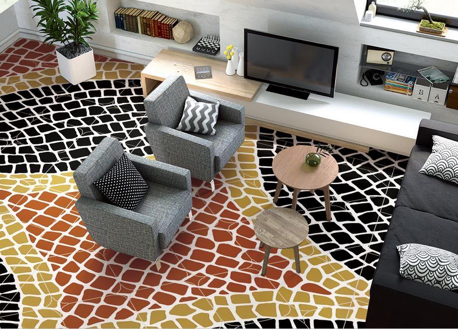 38.49$  Buy here - 3d flooring photo wallpaper Nordic abstract geometric patterns 3d floor waterproof wallpaper for bathroom 3d floor tiles  #buyininternet