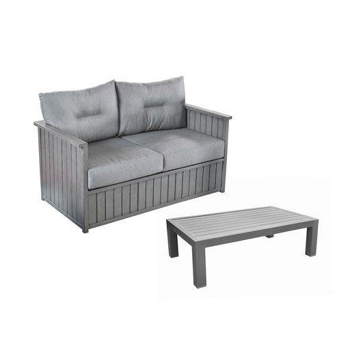 canap 2 places de jardin milano gris pro loisirs canap de jardin leroy merlin leroy merlin. Black Bedroom Furniture Sets. Home Design Ideas