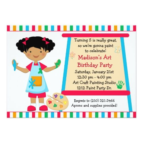 Art birthday party african american art paint party birthday card art birthday party african american art paint party birthday card stopboris Images