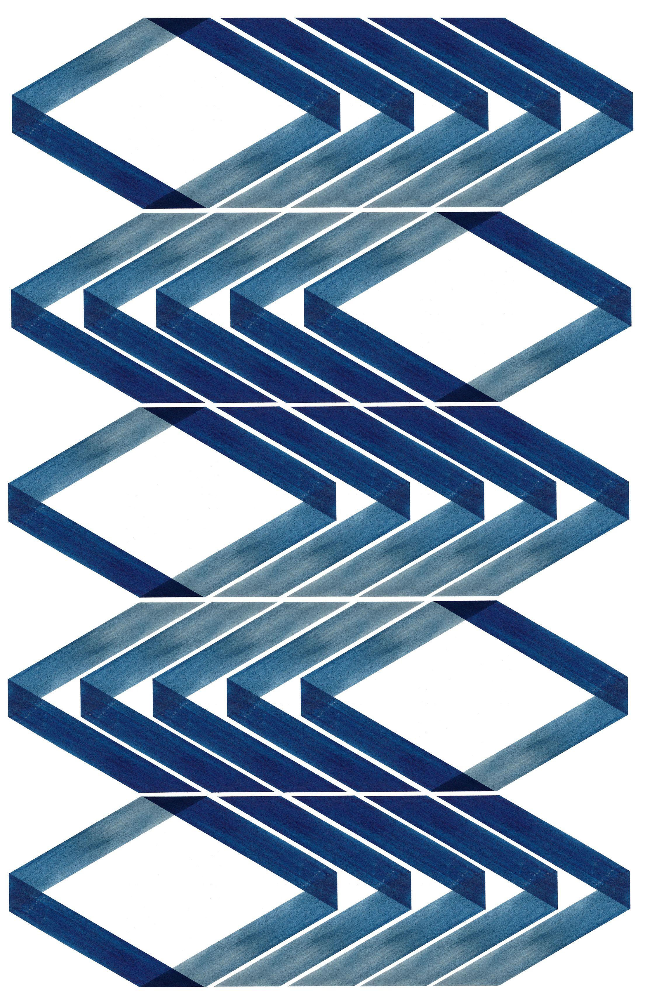 Blue Geometric Print Geometric Art Blue Wall Art Minimal