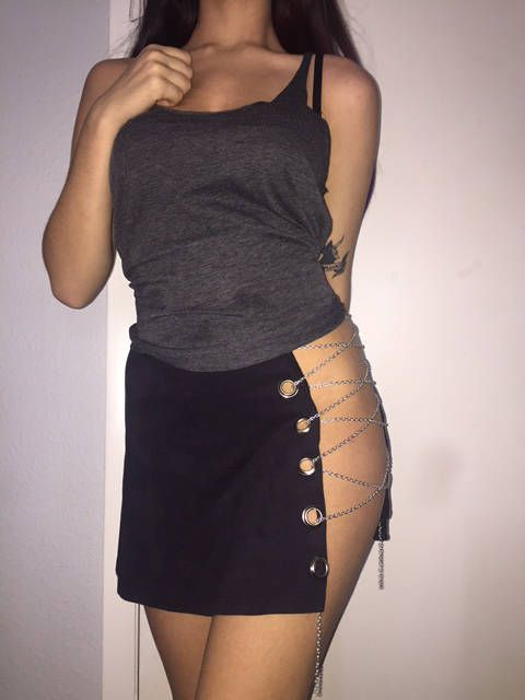Open Side / Kendall Jenner Inspired / Lace Up Chain Skirt ...