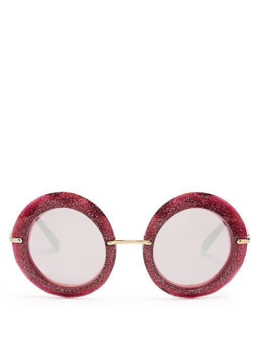 616025ed7012 DOLCE   GABBANA Round-frame glitter-acetate sunglasses.  dolcegabbana   sunglasses