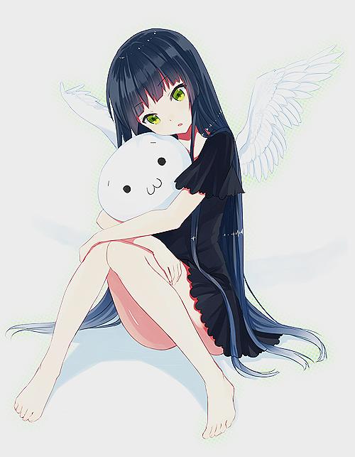 anime angel wings bluish-black