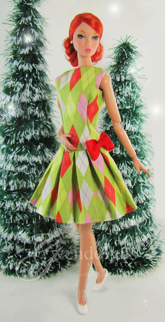 HOLIDAY ARGYLE dress for  1:6 scale dolls by GwendolynsTreasures