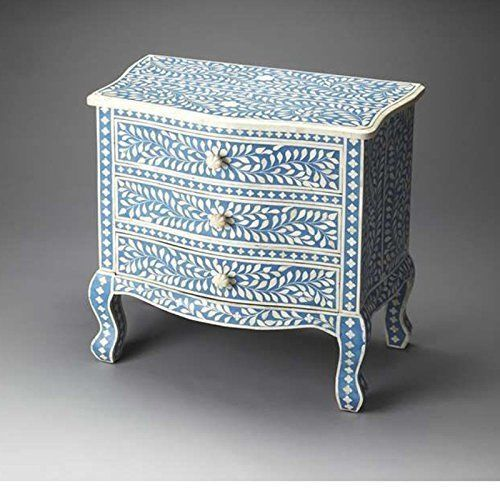 Bone Inlay Accent Blue Chest Drawer Handmade Inlay Furniture