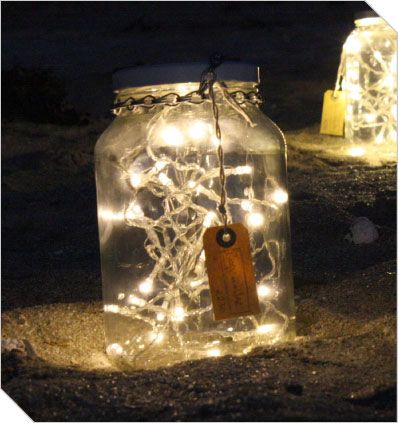 Patio Lights  Mason Jar Filled With Battery Operated Fairy Lights.