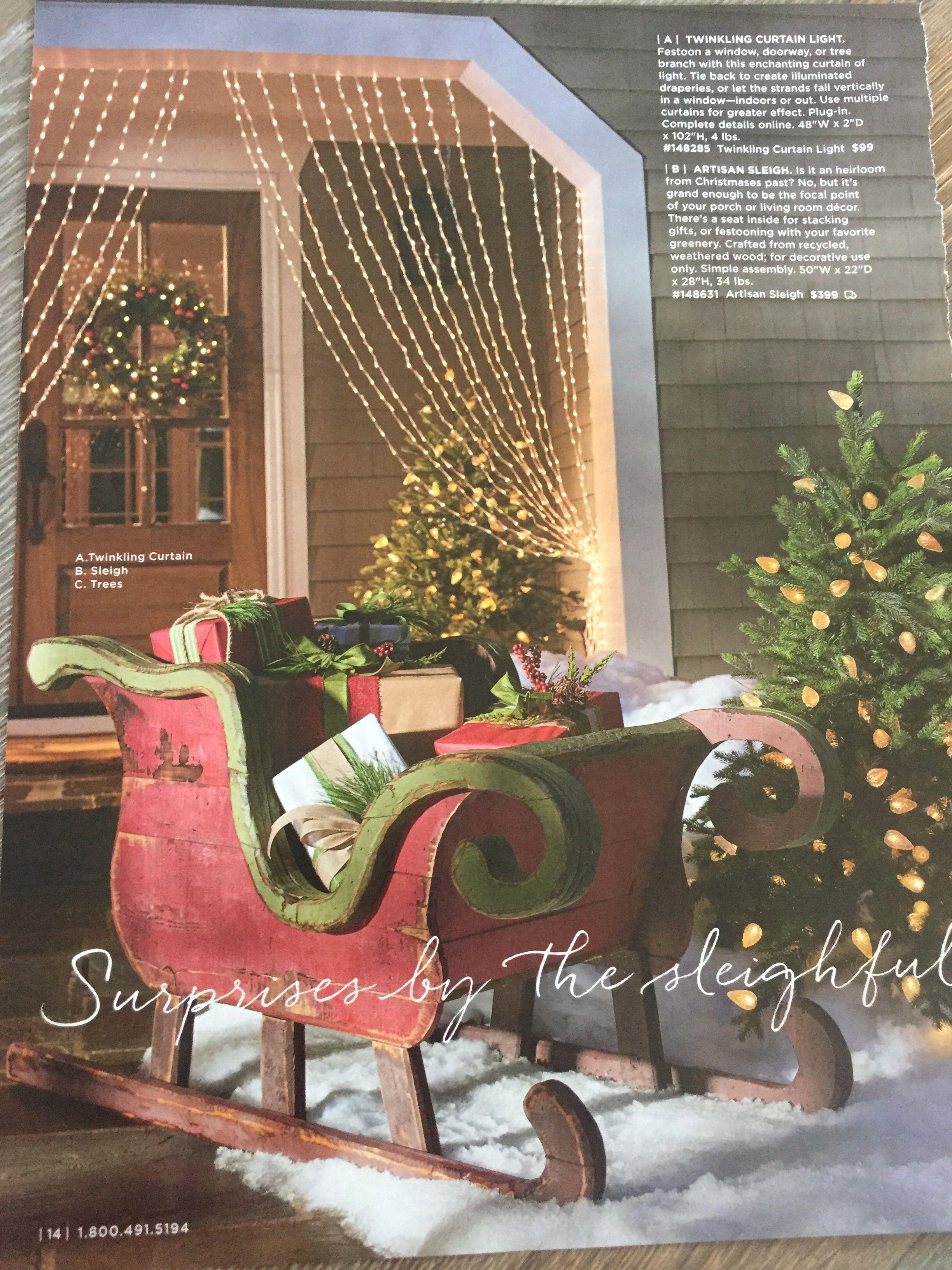 I Love The Ling Light Curtain Grandinroad Christmas Sleighs Sleigh Decoration Sled